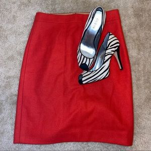 J. Crew Factory Red Double-Serge Lined Wool Pencil Zipped Skirt Size 0